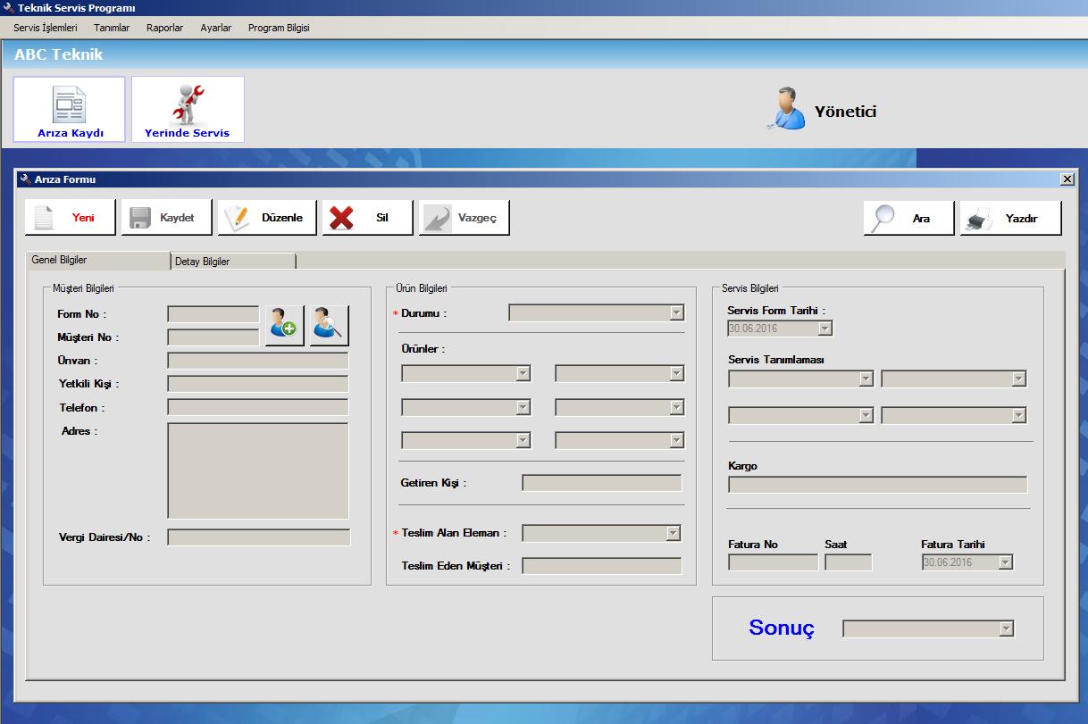 bilgisayar teknik servis takip formu